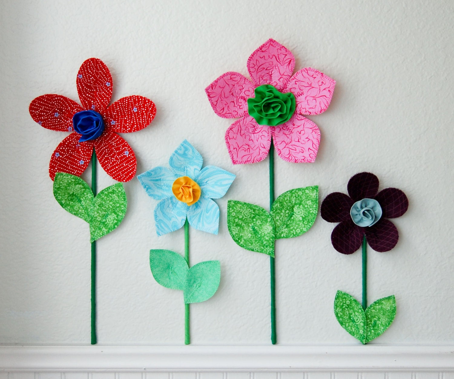 Girl room decor 3d fabric wall flower decor art floral for 3d flowers for wall decoration