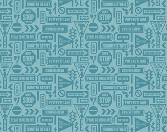 "CRUISER BLVD SIGNS Blue ~ 100% Cotton Fabric ~ 1/2 Yard Cut ~ 18"" x 44"" Riley Blake Designs by Sheri McCulley Studio ~ c3224 Blue"
