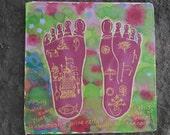 Lotus Feet of Srimati Radharani Silk Painting