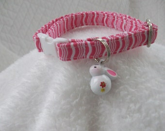 Easter Cat Collar  with Bunny  bell Breakaway Collar Custom Made