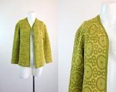 c1960's Avocado Woolen Cardigan Sweater M/L