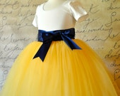 Yellow tutu for girls. A custom blend of yellow tulle for a Flower Girls skirt. Your choice of ribbon color.