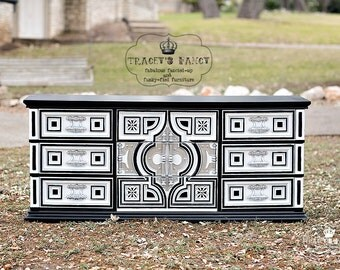 "9-drawer Spanish Revival Dresser turned ""Moroccan"" style dresser"