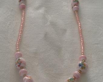 Vintage Glazed Ceramic Pink and Floral Bead Necklace