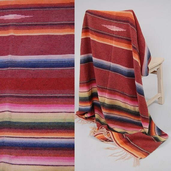 Vintage 40s Oxblood Stripe MEXICAN Woven Blanket Or Rug