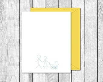 Thank You Cards. Baby Shower Thank You Cards . Baby Thank You . Baby Announcements  - Stick Figure Family