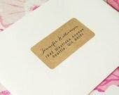 Custom Printed Return Address Labels - Design #02, Calligraphy Address Labels, Brown Kraft Labels, Rustic Wedding