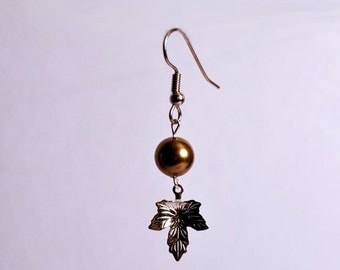 Bronze Swarovski Crystal Pearl Maple Leaf Dangle Earrings - Hypo Allergenic