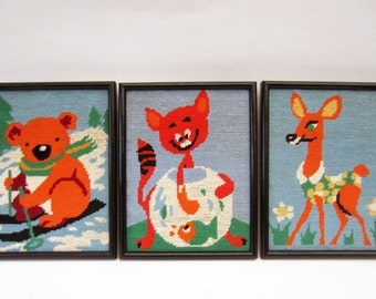 Vintage framed ANIMALS⎮embroidered wool canvas⎮bear cat doe⎮nursery kid room decor⎮set of 3