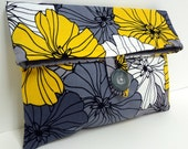 READY TO SHIP Yellow and Gray Wedding Bridesmaid Clutch Medium Modern Gray and Yellow Foldover Makeup Bag