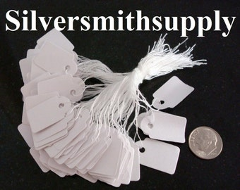 "100 White paper jewelry price tags write on, string attachment 7/8"" x 5/8"" label pt007"