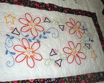 Floral Flower Fabric Embroidery Quilted Wall Hanging Table Topper Kid Quilt Art by WonderlandShoppe