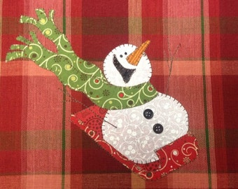 Sledding Fun, A Cute Snowman Applique  PDF Pattern for Tea Towel