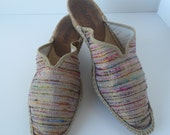 Striped Espadrilles from France Size 38 Mules Wedge Pare Gabia