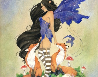 Fairy Art Print - Two Foxes - fantasy. animal. woodland. watercolor. whimsical. illustration.