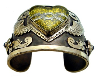 Antiqued Silver Cuff Bracelet with Yellow Gold Glitter Winged Sacred Heart and Swarovski Crystals