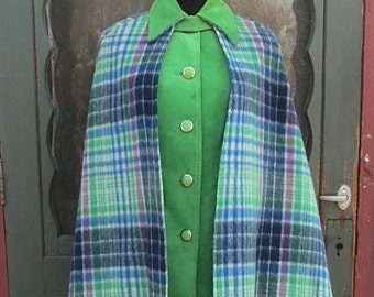 Vintage 1970's Pioneer Wear Western Cowgirl Plaid Wool &  Green Suede Cape and Tunic Set