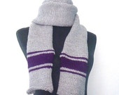 Chunky Extra Long Man's Silver Grey and Deep Purple Scarf - Made to Order