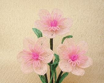 3 Handmade Pink Wildflowers ... French Beaded Flowers