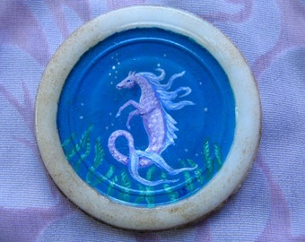 HIPPOCAMPUS MINIATURE PAINTING - Hand-Painted on Antique Porcelain, Just 2.5 Inches in Size, Tiny Original ooak Artwork