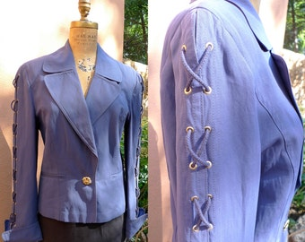 Cadet Blue Jacket // Vintage Louis Feraud Blazer// Size 6