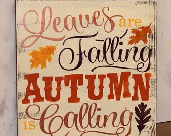 FALL Sign/Leaves are Falling Autumn is Calling/Subway Style/Autumn/Typography/Fall Decoration/Wood Sign/Hand painted/Bronze