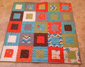 Here Fishy Fishy Crib Quilt Baby -- orange, blue, green, aqua, brown, grey -- pattern available