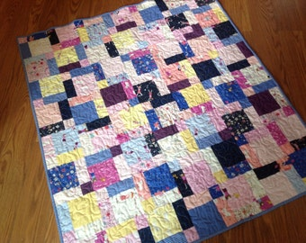Hello Petal Baby Girl Quilt in Pink, Blue, Navy, Yellow, White