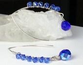 Royal Blue Swarovski Crystal Cluster Earrings, Sterling Silver, September Birthstone Earrings