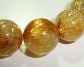 Genuine Golden Rutilated Quartz Smooth Round beads, 14mm - 1 bead
