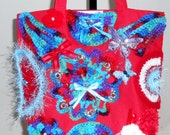 Red Tote Bag Embellished with freeform crochet designs and ribbon//purse//gifts for her//20% off use code: ClearanceSale