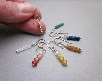 Colorful Bead Earrings -- Small Gemstone Earrings -- Tiny Bead Earrings -- Lightweight Bead Earrings -- Stick Bead Earrings -- Gem Dangles