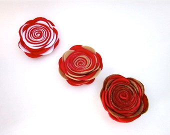 Red Flower Pin -- Red Felt Flower -- Large Red Pin -- Red Felt Pin -- Red Felt Brooch -- Two Tone Pin -- Red Felt Flower Clip -Red Felt Rose