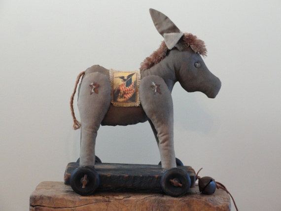 DONKEY Pull Toy - Primitive - Americana - Soft Sculpture Mule - Gray Grey - Folk Art Jackass - Vintage Style -  Reclaimed Wood - DEMPSEY