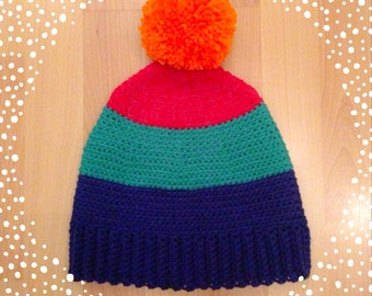Crochet Custom Retro Hat With Pom Pom Adult Size 4 Colors