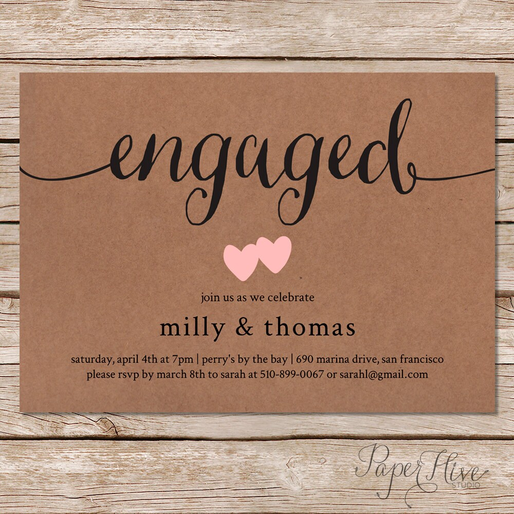 printable engagement party invitation rustic wedding. Black Bedroom Furniture Sets. Home Design Ideas
