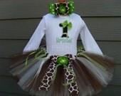 Custom Tutus.. LIME GIRAFFE Tutu Set....3,6,9,12,18,24 months and 2T,3T,4T,5T,6T years, zoo, Disney Animal Kingdom, costume, birthday