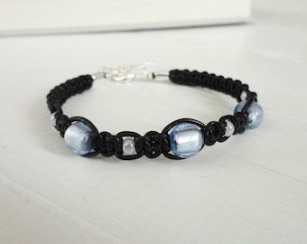 Womens macrame bracelet women leather cuff blue glass beads black leather cords knotted