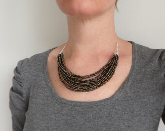 Layered statement necklace multi stranded bib necklace small glass beads olive brown bronze elegant