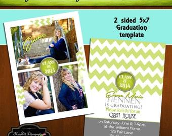 INSTANT DOWNLOAD Lime Green Chevron Senior Graduation Announcement Templates/PSD files