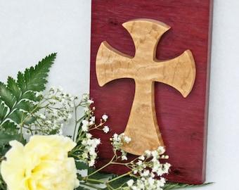 Wood Wall Cross, Decorative Cross, Purple Cross, Celtic Wall Cross, Cross Wall Art, Cross Home Decor, Religious Wall Decor Rustic Wood Cross