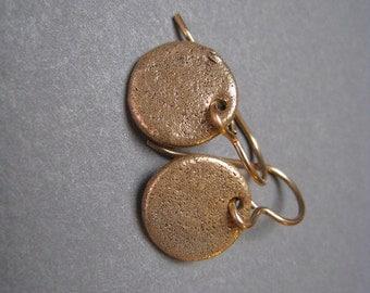 Small Disk Bronze Earrings - Disk Earrings - Small Earrings