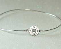 Compass Bangle Bracelet, Sterling Silver Bangle, Graduation Gift, Stacking Bracelet