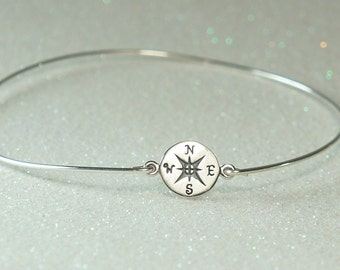 Compass Bangle Bracelet, Sterling Silver Bangle, Graduation Gift, Stacking Braclet. Free US Shipping