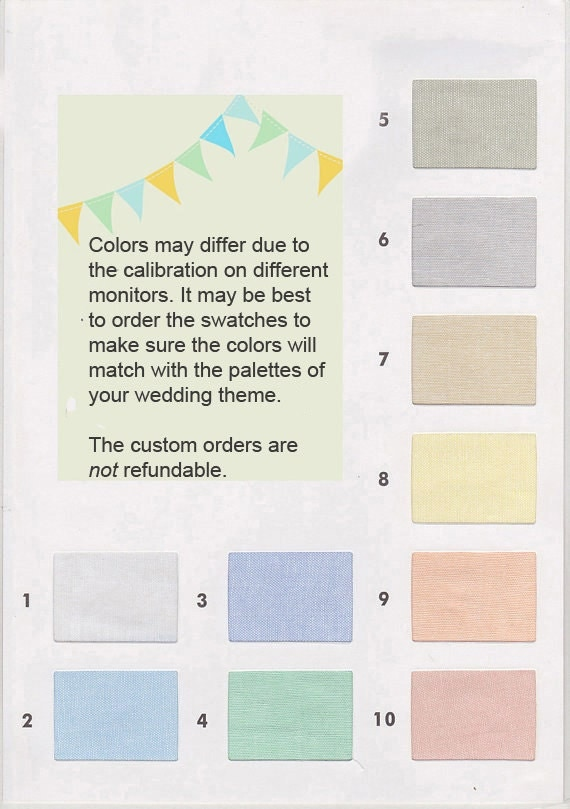 Color Swatches for Wedding Orders