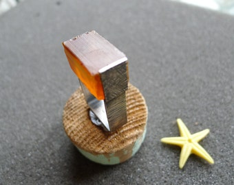 Raw Industrial pressed amber ring, oxidized sterling silver, texturized silver, size 9 1/4, square ring