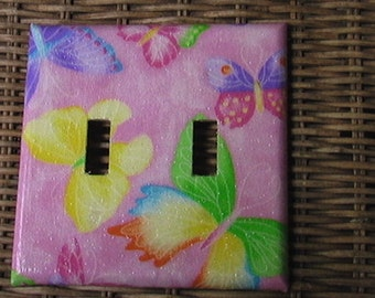 Butterflies Double Toggle Light Switch Plate Cover