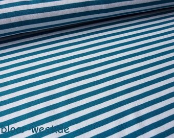 """Lillestoff Stretchjersey """"Stripes"""" Teal / White by Lillestoff Organic Cotton Fabric"""