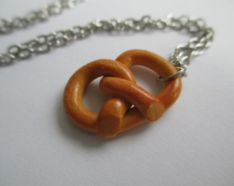 Pretzel Necklace - Miniature Polymer Clay Food Jewelry - Summer Snack