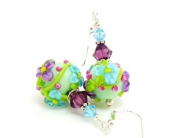 Colorful Floral Earrings, Lampwork Earrings, Glass Earrings, Glass Bead Earrings, Glass Earrings, Beadwork Earrings